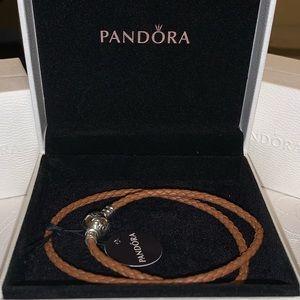 Pandora double leather brown bracelet New size 2